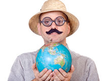 Traveler holding globe Royalty Free Stock Photo