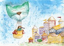 The traveler in a hot air balloon flies over the old city. Watercolor sketch. Children`s drawing royalty free illustration