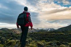Traveler in Iceland royalty free stock photo