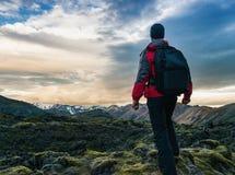 Traveler in Iceland royalty free stock image