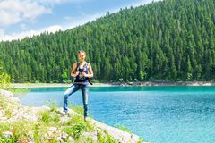 Traveler infront of lake view and mountains Royalty Free Stock Photography