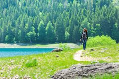 Traveler infront of lake view and mountains Stock Photos