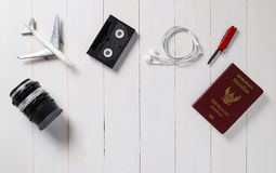 Traveler Items alignment on top with background Royalty Free Stock Photo