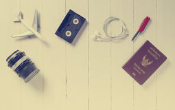 Traveler Items alignment on top with background copy space on vintage tone Stock Images