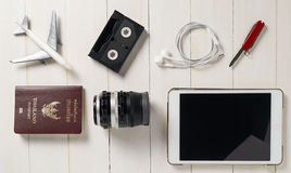 Traveler Items alignment on top with background copy space on vintage tone Stock Image