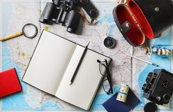 Essential traveler items. Traveler items. Vacation concept. Essential travel accessories. Flat lay Royalty Free Stock Photos
