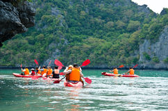 Traveler kayaking Stock Photography