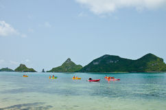 Traveler kayaking in the Gulf of Thailand Royalty Free Stock Photos
