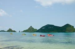 Traveler kayaking in the Gulf of Thailand Royalty Free Stock Photos