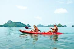 Traveler kayaking in the Gulf of Thailand Stock Photos