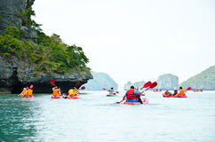 Traveler kayaking in the Gulf of Thailand Royalty Free Stock Images