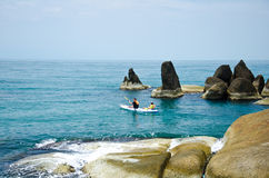 Traveler kayaking in the Gulf of Thailand Royalty Free Stock Photography