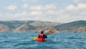Traveler kayaking Royalty Free Stock Photography