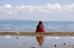 Traveler and lake Stock Photo