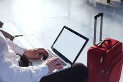 Traveler with laptop Stock Photo