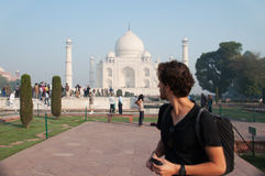 Traveler looking at Taj Mahal Royalty Free Stock Photo