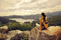 Traveler looks at the sea bay. Vietnam Royalty Free Stock Photography