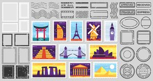 Free Traveler Mail Post Stamp. City Attractions Postcard, Fragile Stamp And Postage Frames Vector Set Royalty Free Stock Images - 166407139