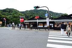 Traveler in Main Street at Arashiyama Stock Images