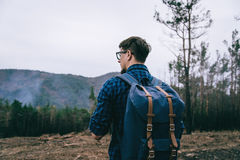 Traveler man with backpack Royalty Free Stock Image