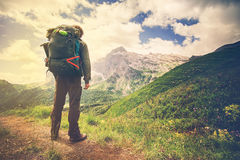 Traveler Man with backpack hiking Travel Lifestyle Royalty Free Stock Photos