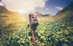 Traveler Man with backpack mountaineering Royalty Free Stock Photo