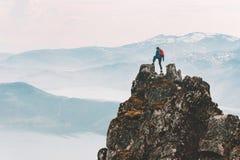 Free Traveler Man Climbing On Mountain Top Adventure Travel Extreme Royalty Free Stock Images - 169743989