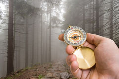 Traveler man with compass seeking a right way in the forest Royalty Free Stock Images