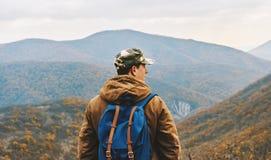 Traveler man enjoying by scenics in autumn season Royalty Free Stock Image