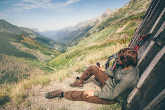 Traveler Man with gps navigator tracker relaxing Stock Image