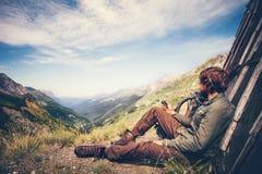 Traveler Man with gps navigator tracker Stock Images