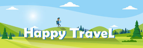 Traveler Man Hiking Over Mountain Background Outdoor Trekking Tourism Banner Stock Photos