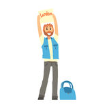 Traveler man hitchhiking with tablet with text London, travelling by autostop. Cartoon vector Illustration on a white background Royalty Free Stock Photography