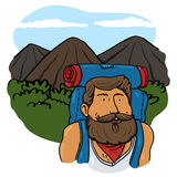 Traveler man illustration Royalty Free Stock Photos