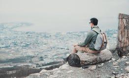 Traveler man looking at town Stock Photo