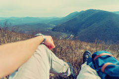 Traveler man resting in the mountains Royalty Free Stock Photography