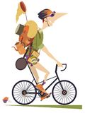 Traveler Man Rides A Bike Isolated Illustration Royalty Free Stock Image