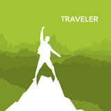 Traveler Man Silhouette Rock Climber Stand On Top Mountain Royalty Free Stock Photography