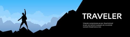 Traveler Man Silhouette Stand On Mountain Rock Stock Photo