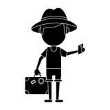 Traveler man with suitcase passport pictogram Royalty Free Stock Photo