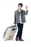 Traveler man waving hand Stock Image