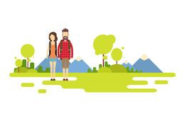 Traveler Man Woman, Couple Outdoor Hiking Over Mountain Background Banner Copy Space Stock Photo