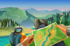 Traveler with a map Stock Photo