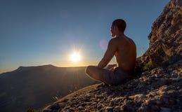 Free Traveler Meditate On Mountain Stock Photos - 109752073