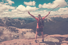 Traveler on mountain top royalty free stock photography