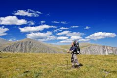 Traveler in a mountains Royalty Free Stock Image
