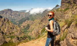 Traveler in mountains Stock Image
