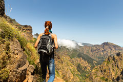 Traveler in mountains Royalty Free Stock Photography
