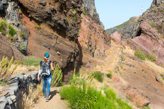 Traveler in mountains. Traveler hiking in Portugal mountains Stock Photography