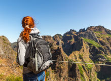 Traveler in mountains Royalty Free Stock Image